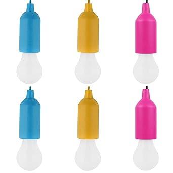 6 bombillas LED para colgar en cuerda, funciona con pilas, para decoración de fiestas