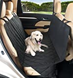 Pet Dog Car Seat Cover ~ Quilted Protector for Back Seats Engineered for Large Dogs, Sizes Fit Most Cars, Trucks & SUVs, Extra Strong with Adjustable Straps & Flaps, Small Black