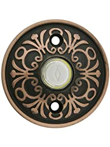 Solid Brass Lancaster Style Buzzer Button In Oil Rubbed Bronze. Brass Door Bell Button.