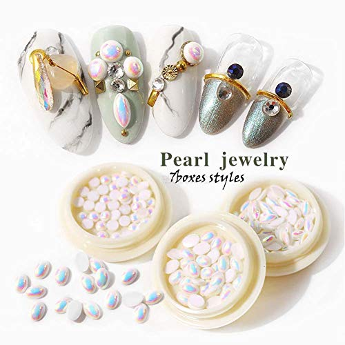 Lookathot 7Boxes/Set 3D Nail Art Decals Mixed Design Symphony AB Clear Semicircle Flat Pearl Jewelry DIY