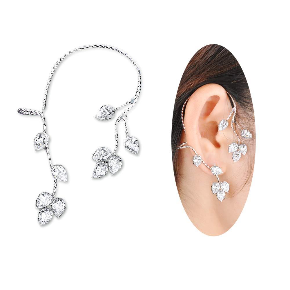 Dnswez Right Ear Wrap Stud CZ Cubic Zirconia Leaf Shape Zirconia Earrings For Women Girl