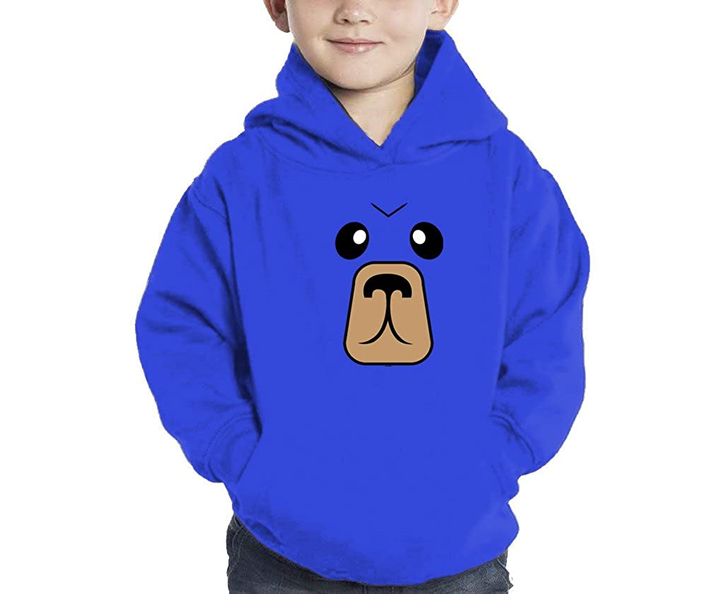 5//6, Royal Blue Toddler Little Boy Love Big Bear Face 3D Hoodie Sweatshirt