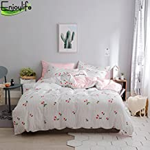 Enjoylife Love&Warm Style 100% Pure Cotton Reversible 3PCS Bedding Set for Spring/Summer Printing Duvet Cover Super Soft Girls Teens Adults Little Cherry Quilt Cover Queen Size
