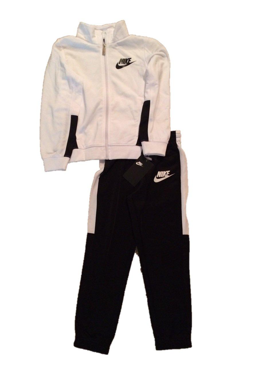 Boys Nike Jacket & Pants Track Suit Set Sweatsuit (7, White Black) by Nike (Image #1)