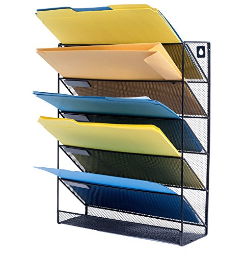 5 Tray Wall File Organizer, Metal Mesh Organizer with 5 Trays, Perfect for sorting incoming mail, storing important letter files, folders, papers, books, binders, and more by Blue Summit Supplies