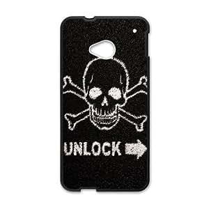 Death Skull Lockscreen HTC One M7 Cell Phone Case Black toy pxf005_5860506