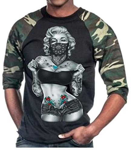 Marilyn Monroe Standing with Bandana Men's Baseball Tshirt Camo/Black S-3XL (XXL, Camo/Black) ()