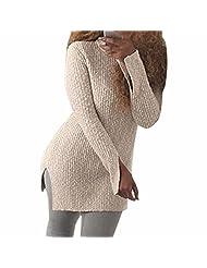 Women Long Sleeve Casual Tops Knit Sweater Winter T-Shirt Blouse Knitwear Split