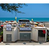 Cal Flame e3100 3 Piece Outdoor Kitchen Island with 4 Burner Built-in Grill