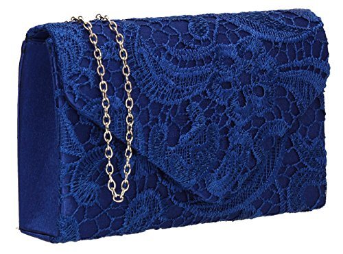 Holly Lace Envelope Womens Party Prom Wedding Bridal Clutch Bag - Silver Royal Blue