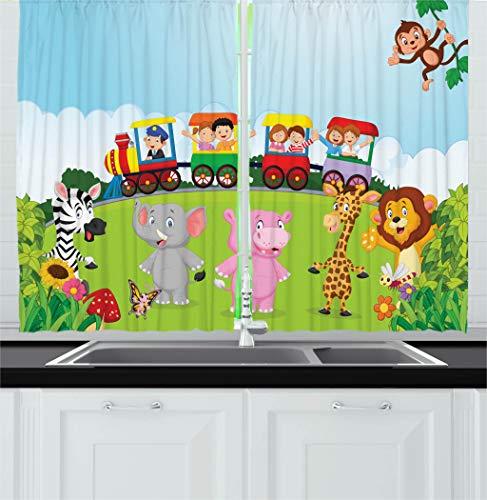 Train Window - Ambesonne Cartoon Kitchen Curtains, Kids Nursery Design Happy Children on a Choo Choo Train with Safari Animals Artwork, Window Drapes 2 Panel Set for Kitchen Cafe Decor, 55