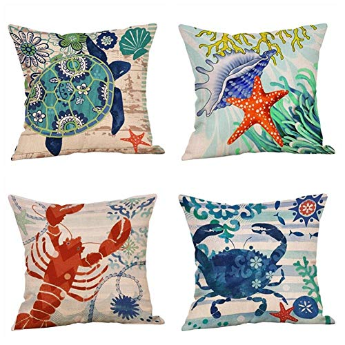 (Nextchange Marine Animals Turtle Crab Shell Throw Pillow Covers Set of 4 Summer Beach Cushion Case Cotton Covers 22x22 Inch (Two Sided) Home Decorative Gift for Girl Boy)