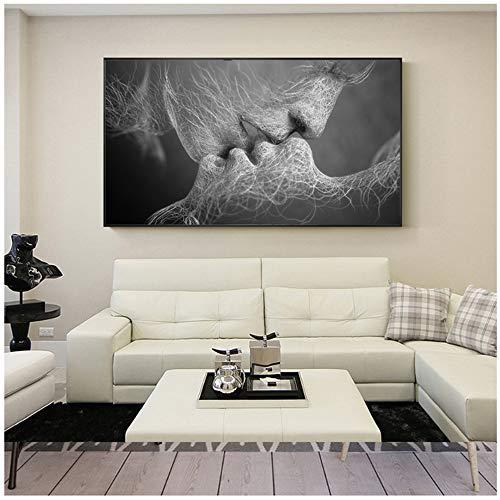 HANSHUIHONG Pareja Beso Abstracto Arte de la Pared en Lienzo Impresiones Moderno Dulce Beso hogar Cuadros Decorativos para la decoracion de la Sala Lienzo pintura-60x120 cm sin Marco