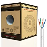 Mediabridge Pure Copper Cat6 Cable (250 Feet, White) - 10Gbps Ethernet, Solid, In-Wall Rated, w/ Premium Snagless Pull-Out Box - (Part# C6-250-WHITE)
