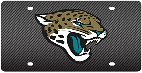 Jacksonville Jaguars Deluxe CARBON Fiber Style Laser Inlay License Plate Tag Football (Jacksonville Jaguars Plate)