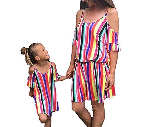 Vestiti Eleganti Mamma E Figlia.Loalirando Madre E Figlia Abiti Estivi A Strisce Multicolore Abiti