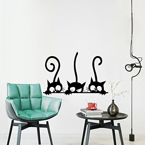 Ducklingup Three Black Cute Cats Removable Vinyl Wall Sticker Decal Mural DIY Room Art Wallpaper Bedroom Wall Decor Poster