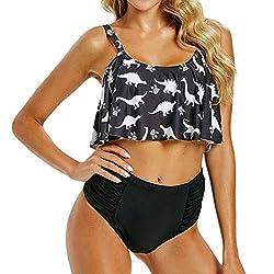 Twgone Ruffle Bikini Top High Waisted Bottoms Women S Sexy Sling Lily Side Split Swimsuit Xx Large Black 1
