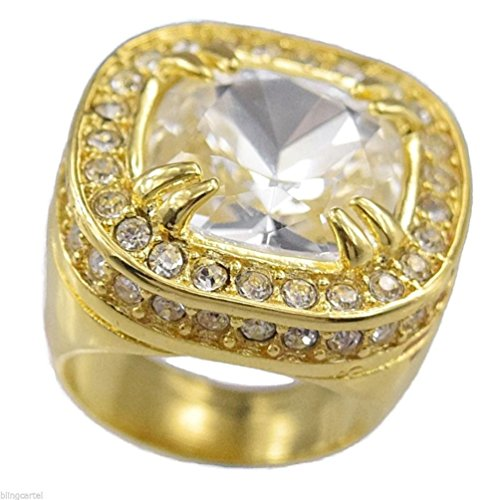 Dancing Stone Big Clear Stone Ring Iced-Out Huge Heavy Chunky Hip Hop Pinky Golden Tone Men Band (Mens Golden Iced Out Rings)