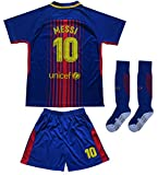 Da Games Youth Sportswear Barcelona Messi 10 Kids Home Soccer Jersey/Shorts Football Socks Set (8-9 YRS OLD, Navy)