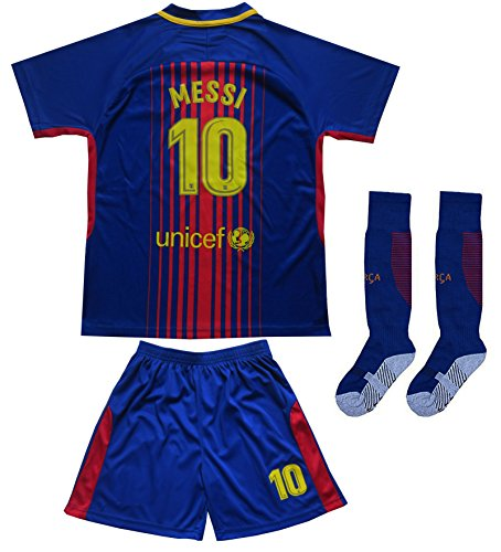 Messi Barcelona Shirt - Da Games Youth Sportswear Barcelona Messi 10 Kids Home Soccer Jersey/Shorts Football Socks Set (12-13 YEARS OLD, Home)