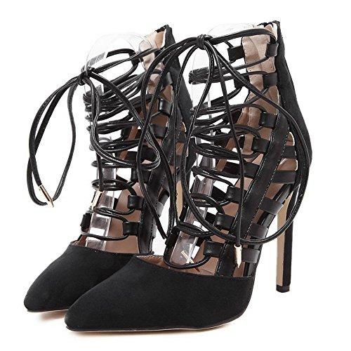 Amoonyfashion Vrouwen Solide Mix Materialen Spikes Stiletto Wees Gesloten Teen Rits Pumps Schoenen Zwart
