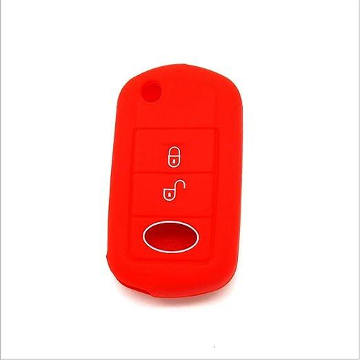 Funda Protectora de Silicona para Llave de Coche para Freelander Evoque Discovery LR3 LR4 Sport Key Case Skin Jacket Rosa//Rojo Silicona