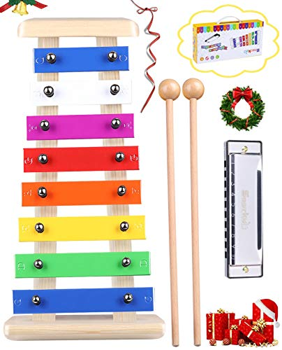 Precisely Tuned Wooden Xylophone for Kids & Harmonica Set...