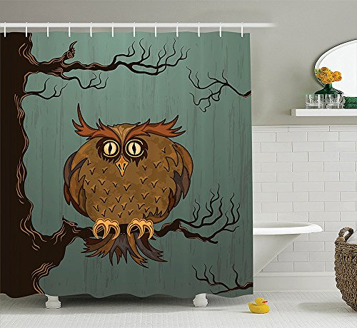 Owls Home Decor Collection Exhausted Hangover Tired Owl in Oak Tree with Eyebrows Nature Cartoon Fun Artwork Polyester Fabric Bathroom Shower Curtain Set Blue