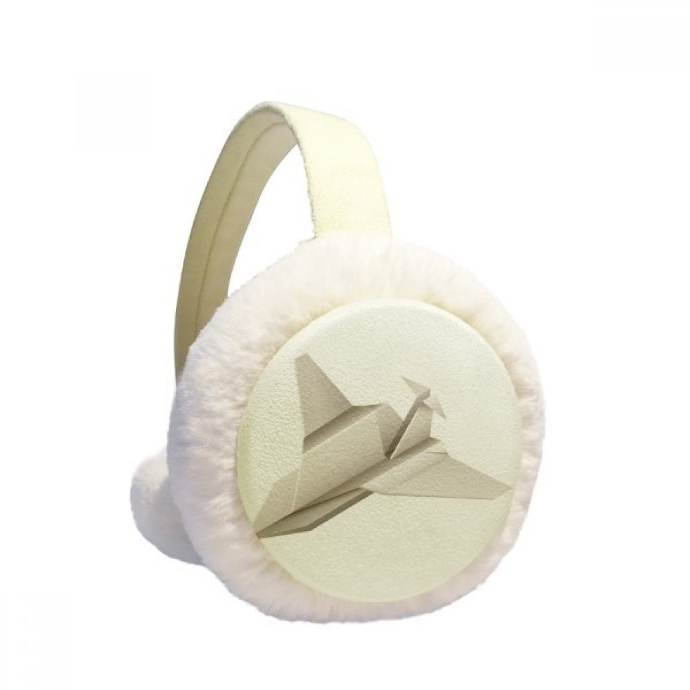 Origami Geometric Abstract Aircraft Pattern Winter Earmuffs Ear Warmers Faux Fur Foldable Plush Outdoor Gift