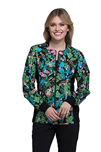Cherokee Fashion Prints Women's Zip Front Knit Panel Floral Print Scrub Jacket Small Print