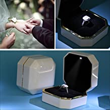 Ring Box, ASAPS Square White Velvet Wedding Ring Box with LED Light for Proposal / for Engagement