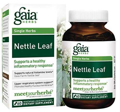 Gaia Herbs Nettle Leaf, Vegan Liquid Capsules, 60 Count - Upper Respiratory and Inflammatory Support, Organic Stinging Nettle Extract (Single Leaf Herb)