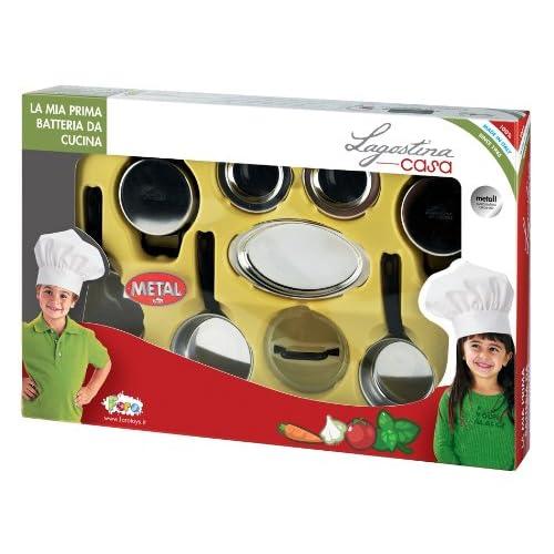 FARO 2764 - Jeu D'imitation - Coffret Accessoires De Cuisine En Inox Lagostina Pour Enfant - 51 X 9 X 33 Cm