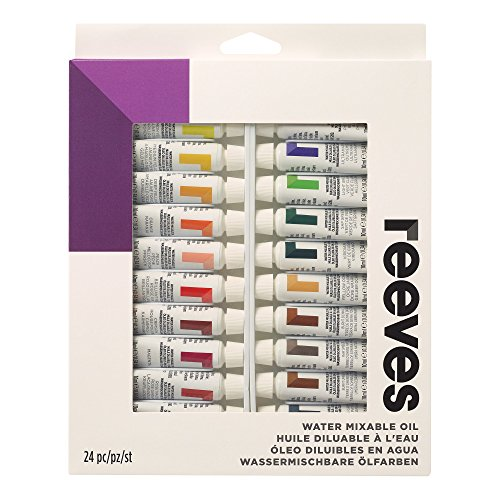 Reeves Paint Set of 24, 10ml tubes, Water Mixable Oil Color