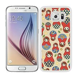 Funda carcasa TPU (Gel) para Samsung Galaxy S6 diseño estampado matrioska borde blanco