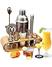 Cocktail Making Set, Cocktail Shaker Set 750ml Stainless Steel Bar Tool Set Bartender Kit with Wooden Display Stand by AYAOQIANG