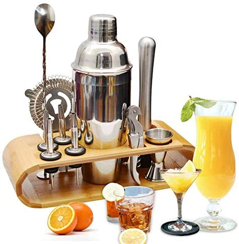 AYAOQIANG Cocktail Making Set, Cocktail Shaker Set 750ml Stainless Steel Bar Tool Set Bartender Kit with Wooden Display Stand Silver