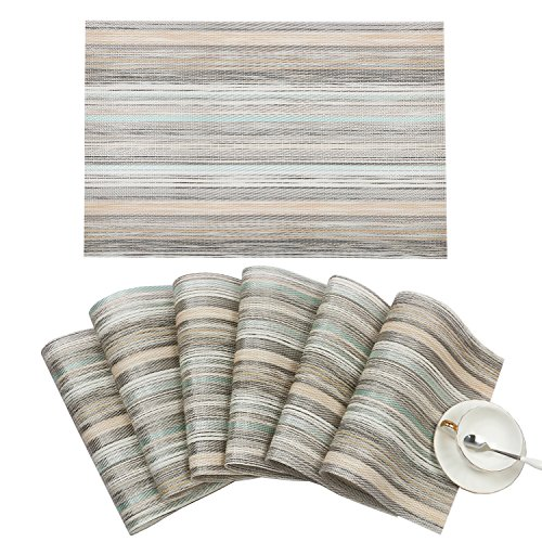 SHACOS Woven Vinyl Placemats, Set of 6 Kitchen Dining Table Mats,Washable Kitchen Place Mats (6, Green Weave)