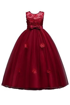 YMING Girls Tutu Maxi Grow Dress Homecoming Prom Sleeveless Long Dress Burgundy 5-6 Years