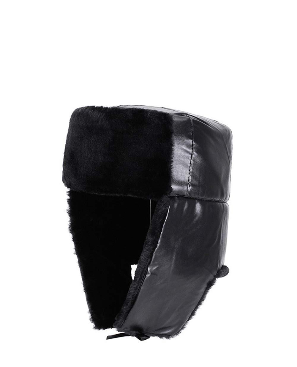 ba3a25a129f51d Qiusa PU Leder Outdoor Hüte für Männer Russische Kosaken Hut Pelz Linie  Ohrenklappen Hüte (Farbe : Schwarz, Größe : 58 cm): Amazon.de: Küche &  Haushalt