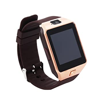 EMEBAY - Montre Intelligente Bluetooth/Montre connectée Bluetooth Smart Watch avec caméra pour Android Smartphones DZ09 Marron + Or