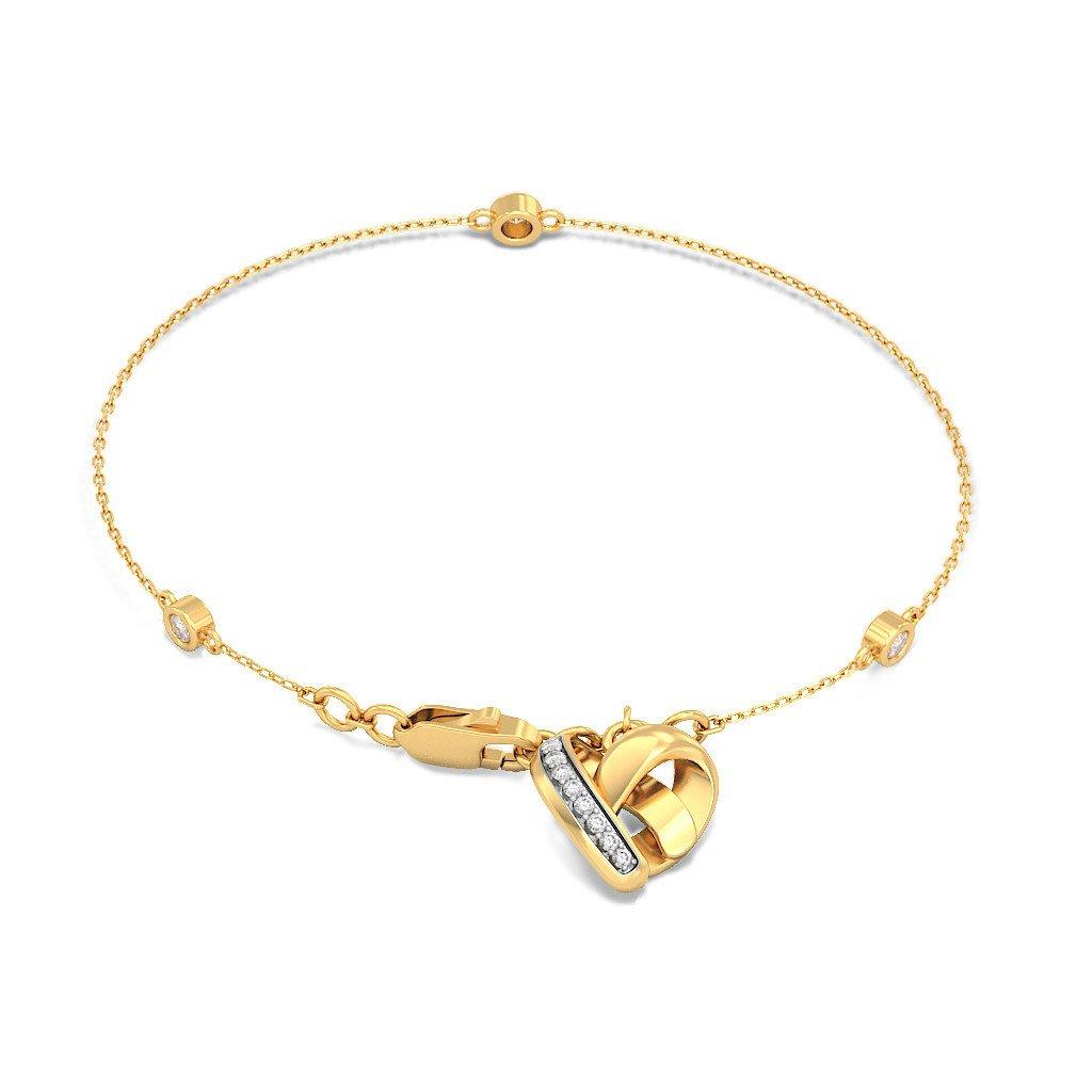 identification-bracelets Size 7.5 inches 18K Yellow Gold 0.16 cttw Round-Cut-Diamond IJ| SI