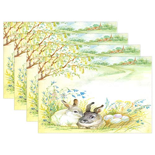 WOOR Retro Easter Bunny Rabbit Watercolor Placemats for Dining Table Heat Resistant Kitchen Table Decor Washable Table Mats Set of 6