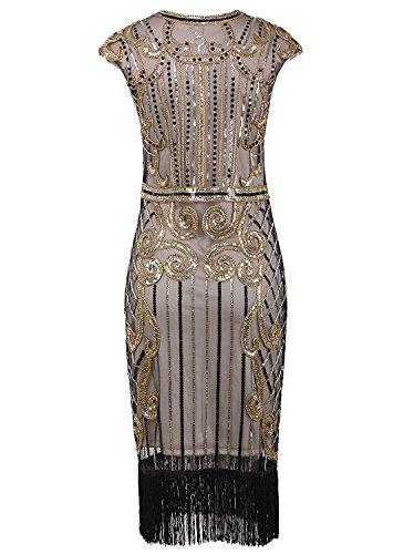 Perles Paillettes Robe De Cocktail Beige Style Garçonne Des Années 1920 Femmes Killreal Vintage Gatsby