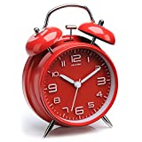Peakeep 4'' Twin Bell Alarm Clock with Stereoscopic Dial, Backlight, Battery Operated Loud Alarm Clock(Red)