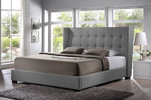 Baxton Studio Favela Linen Modern Bed with Upholstered Headboard, King, Grey