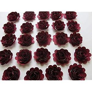 24 Dark Red Carnations, 1.5 Inch Scalloped Burgundy Rose Paper Flowers, Garnet Flowers 3