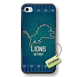 NFL Detroit Lions Team Logo iPhone 4/4S Black Rubber (pc hard) Case Cover - Black