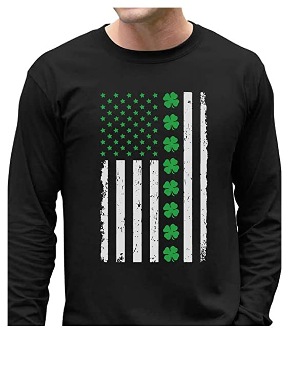 St. Patrick's Day Big Irish American Flag with Clovers Long Sleeve T-Shirt X-Large Black